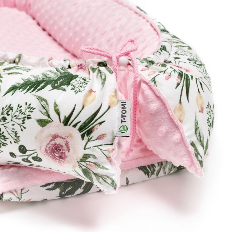 Hniezdočko pre bábätko MINKY, white / pink clouds