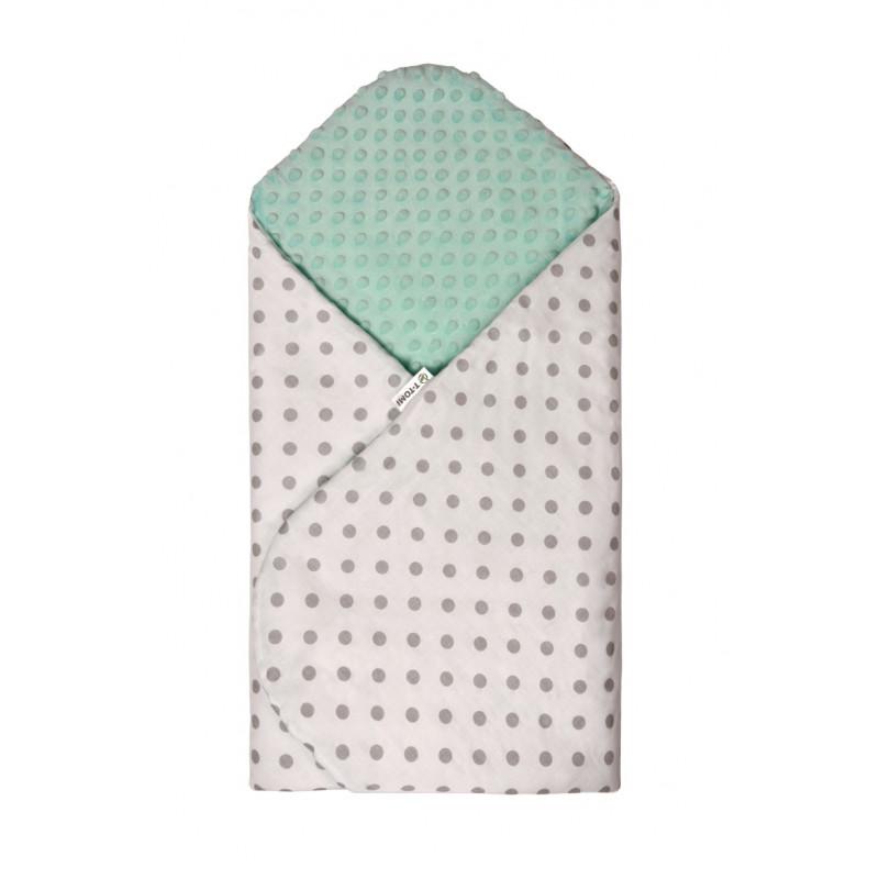 Rýchlozavinovačka MINKY, white - green / grey dots