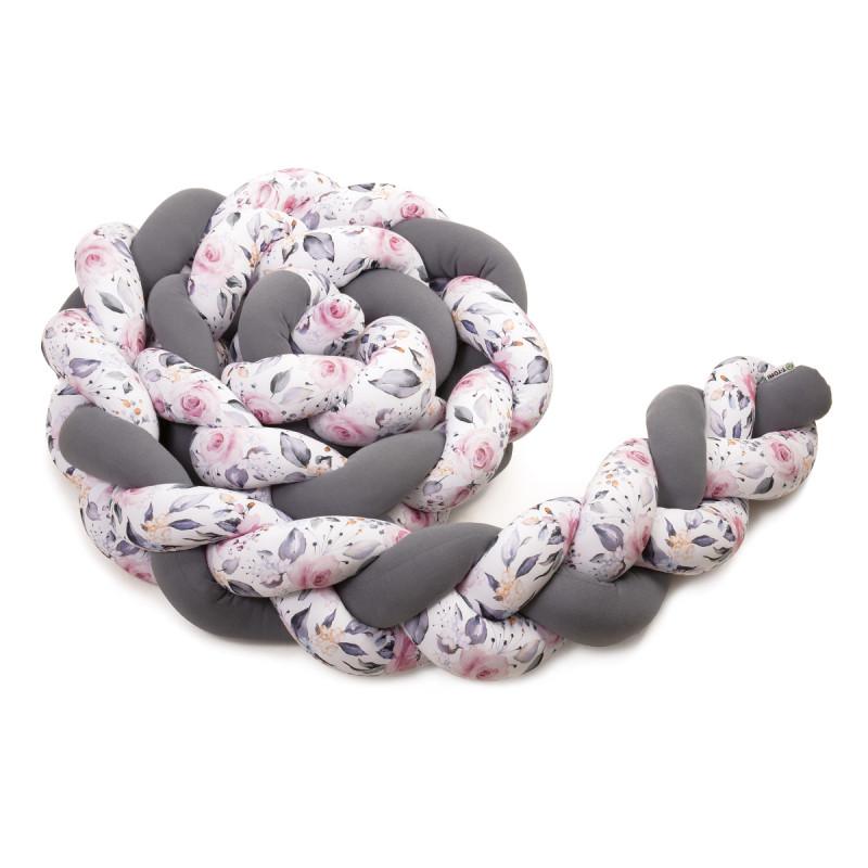 Pletený mantinel 180 cm, antracit + roses